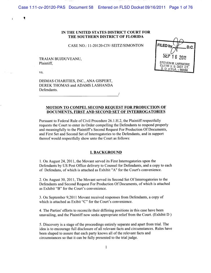 Motion to compel second request for production of documents,first and…