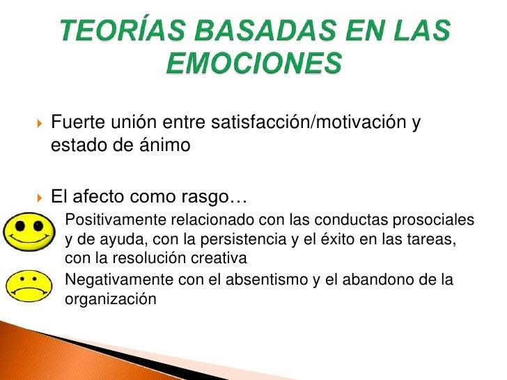 Teorías situacionales<br />Teorías disposicionales<br />Teorías basadas en las emociones<br />SATISFACCIÓN LABORAL<br />