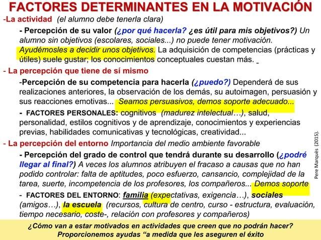 FACTORES DETERMINANTES EN LA MOTIVACIÓN PereMarquès(2015). -La actividad (el alumno debe tenerla clara) - Percepción de su...