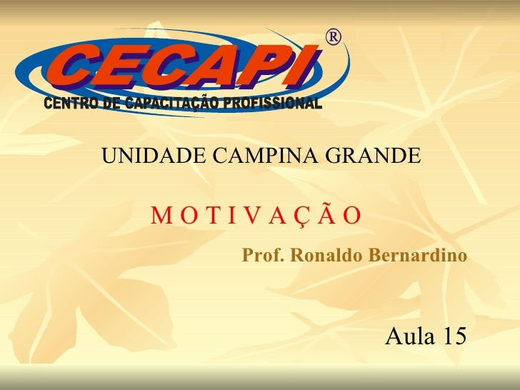 UNIDADE CAMPINA GRANDE M O T I V A Ç Ã O Prof. Ronaldo Bernardino Aula 15