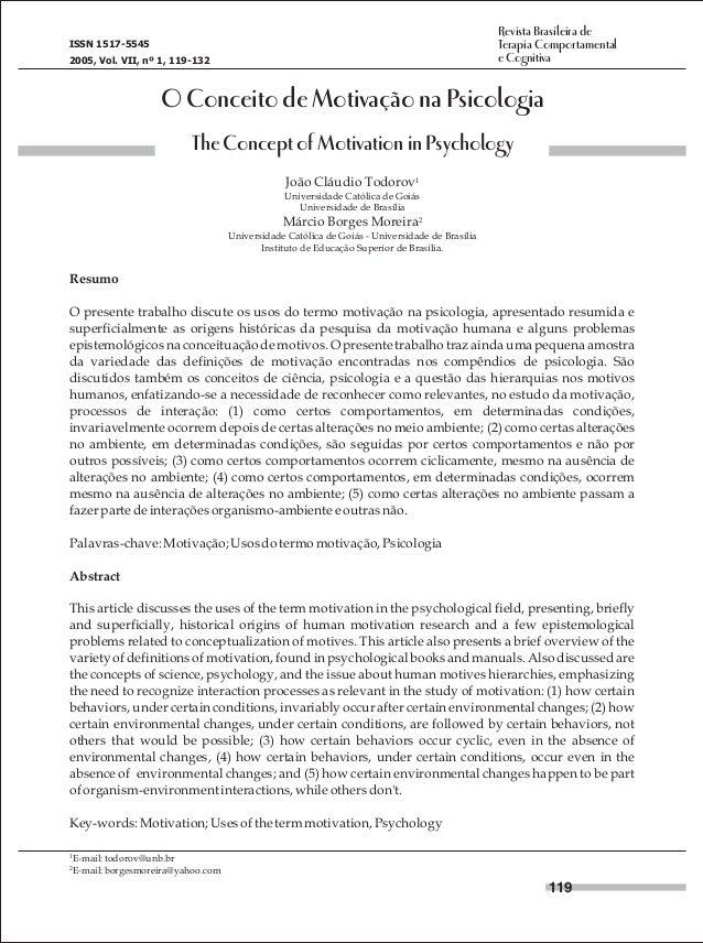 Revista Brasileira de Terapia Comportamental e Cognitiva  ISSN 1517-5545 2005, Vol. VII, nº 1, 119-132  O Conceito de Moti...