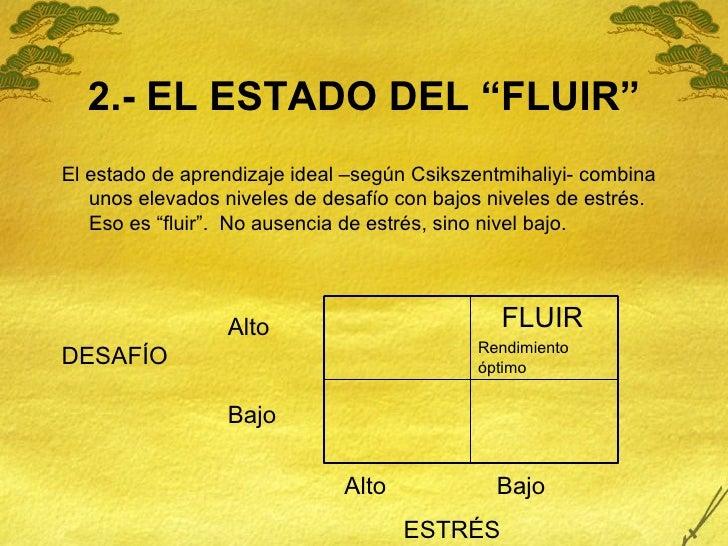 """2.- EL ESTADO DEL """"FLUIR"""" <ul><li>El estado de aprendizaje ideal –según Csikszentmihaliyi- combina unos elevados niveles d..."""