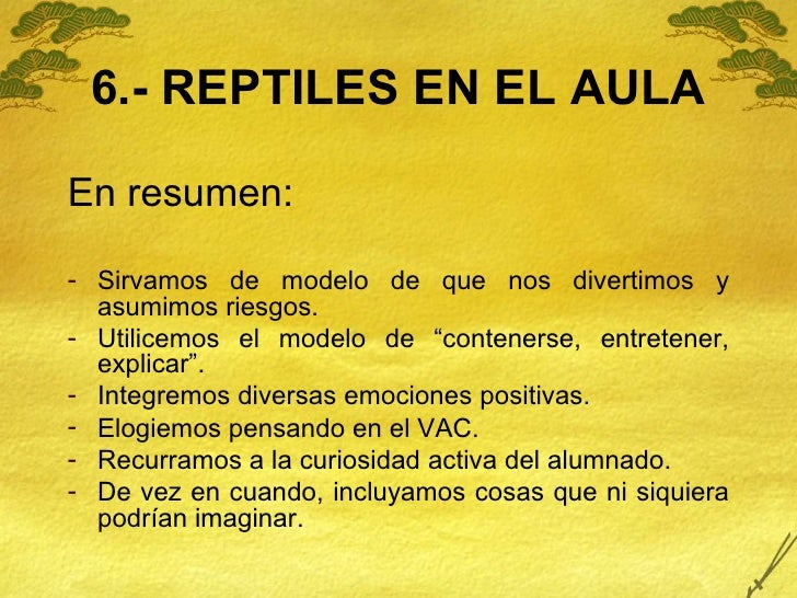 6.- REPTILES EN EL AULA <ul><li>En resumen: </li></ul><ul><li>Sirvamos de modelo de que nos divertimos y asumimos riesgos....