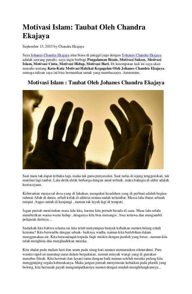 Motivasi Islam Taubat Oleh Chandra Ekajaya