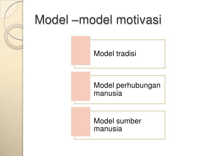 Model –model motivasi         Model tradisi         Model perhubungan         manusia         Model sumber         manusia