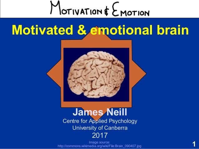 1 Motivation & Emotion James Neill Centre for Applied Psychology University of Canberra 2017 Motivated & emotional brain I...