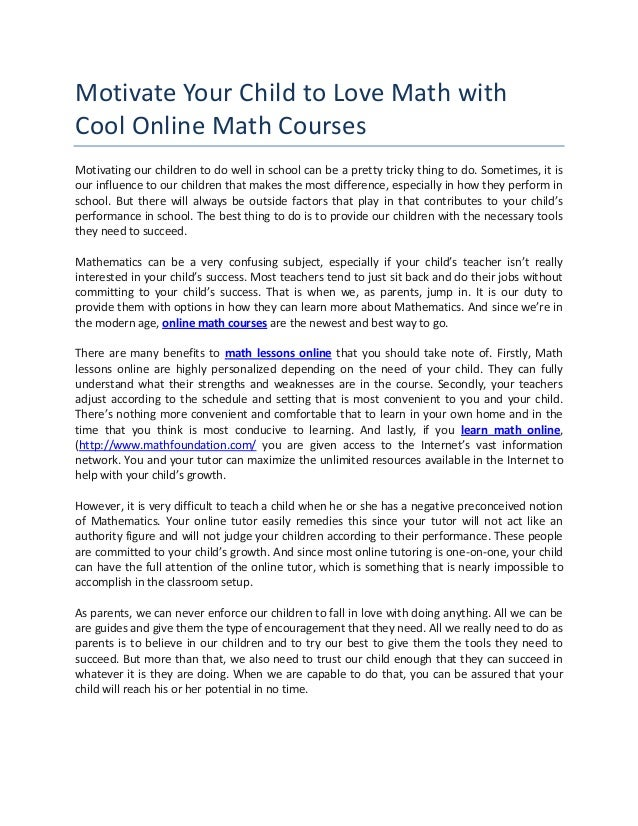 Motivate your child to love math with cool online math courses
