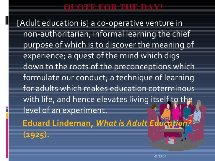 lindeman + quote + adult education