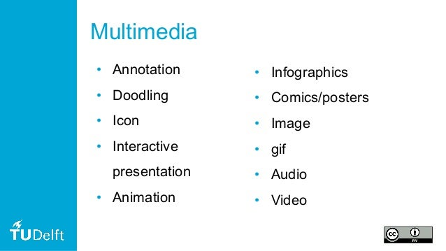 Multimedia • Annotation • Doodling • Icon • Interactive presentation • Animation • Infographics • Comics/posters • Image •...