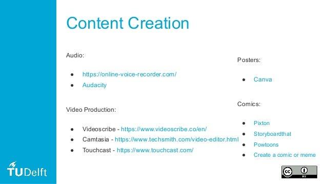 Content Creation Audio: ● https://online-voice-recorder.com/ ● Audacity Video Production: ● Videoscribe - https://www.vide...