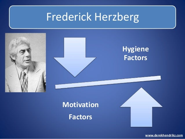 Frederick Herzberg www.derekhendrikz.com Hygiene Factors Motivation Factors