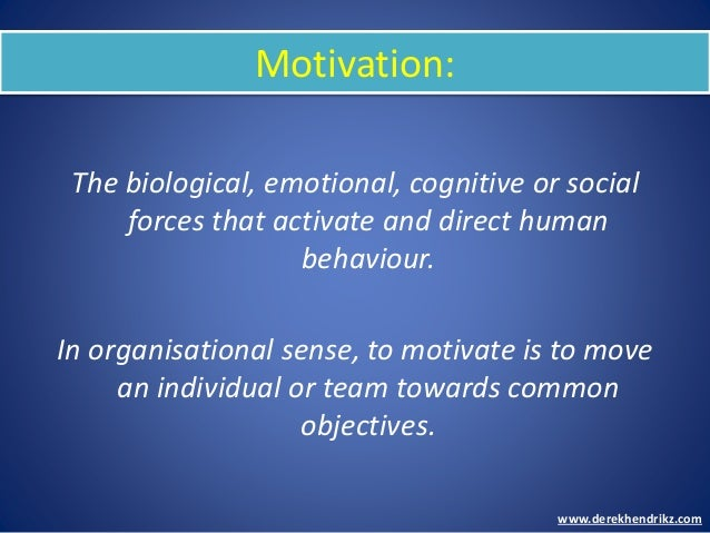 Motivation: The biological, emotional, cognitive or social forces that activate and direct human behaviour. In organisatio...
