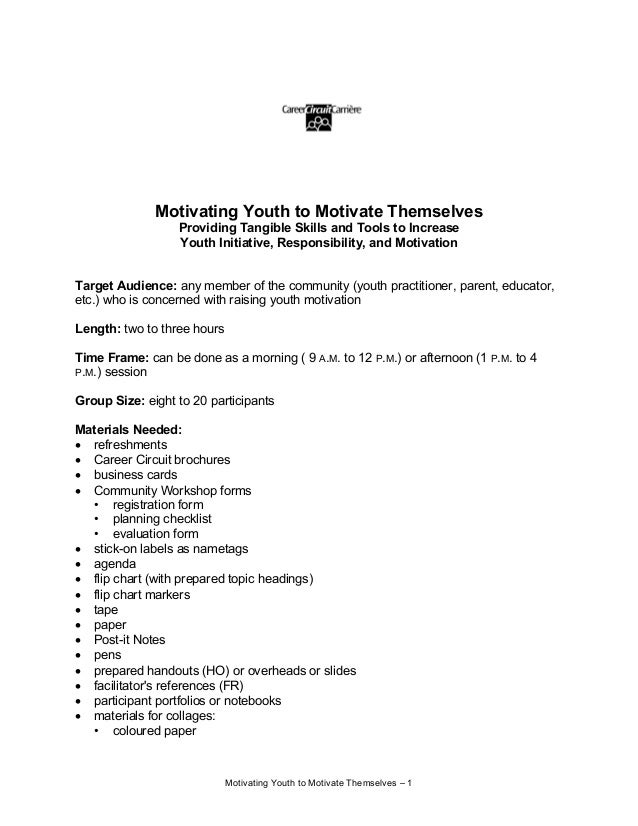 Motivating Youth to Motivate Themselves – 1 Motivating Youth to Motivate Themselves Providing Tangible Skills and Tools to...