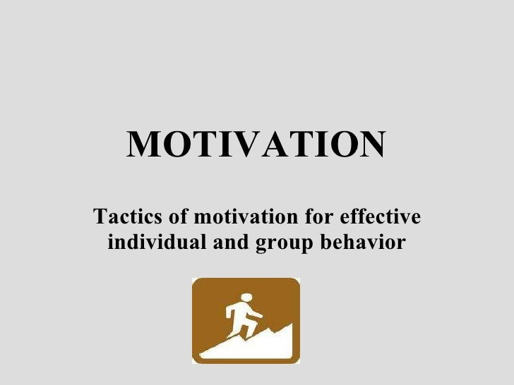 MOTIVATION Tactics of motivation for effective individual and group behavior