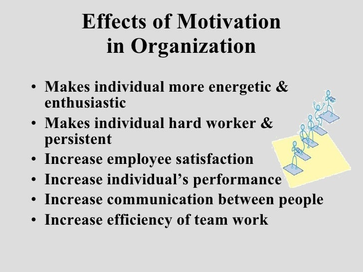 the effect of motivation on organisational Effects of motivation and job satisfaction on employees' performance at organization, are equally what is motivation and job satisfaction.