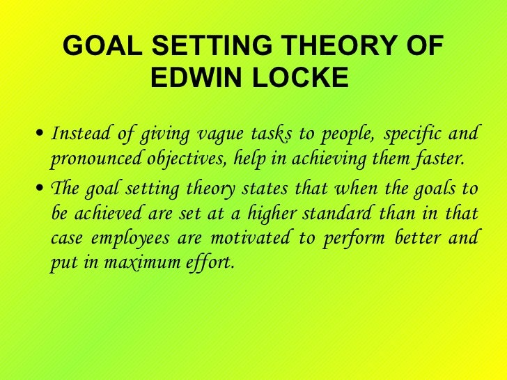 goal setting theory of motivation Motivation as it relates to goal setting theory so what holds an individual back from setting and/or achieving goals, if he or she knows the consequences of foregoing them one of the major factors can be a lack of motivation.