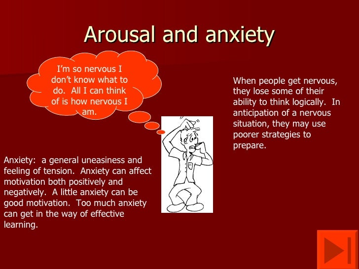 stress anxiety and arousal Anxiety, arousal, and stress relationships:emotion and mood sport psychology social sciences psychology.