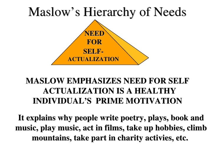 Maslow's Hierarchy of Needs SELF- ACTUALIZATION NEED FOR MASLOW EMPHASIZES NEED   FOR SELF ACTUALIZATION IS   A HEALTHY  I...