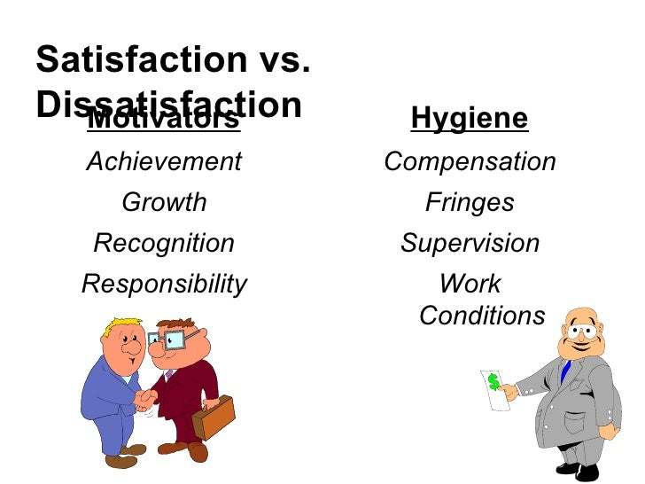 Satisfaction vs. Dissatisfaction <ul><li>Motivators </li></ul><ul><li>Achievement </li></ul><ul><li>Growth </li></ul><ul><...