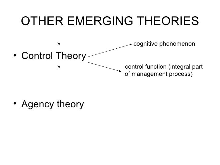 OTHER EMERGING THEORIES <ul><ul><ul><ul><ul><li>cognitive phenomenon </li></ul></ul></ul></ul></ul><ul><li>Control Theory ...