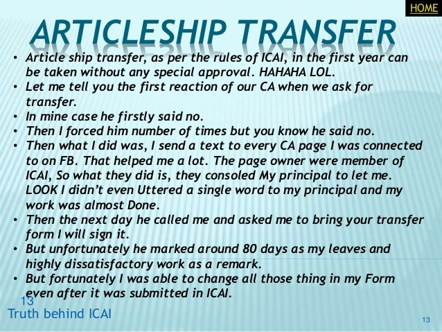 ca articleship transfer application letter