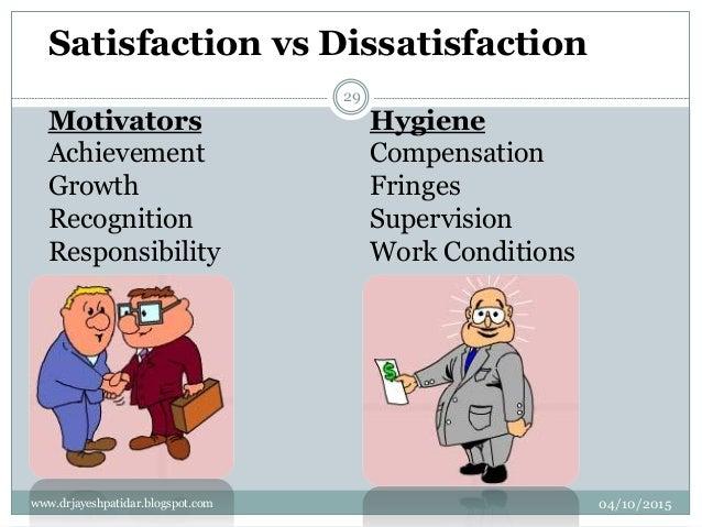 Satisfaction vs Dissatisfaction Motivators Achievement Growth Recognition Responsibility Hygiene Compensation Fringes Supe...