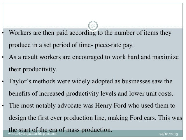 • Workers are then paid according to the number of items they produce in a set period of time- piece-rate pay. • As a resu...