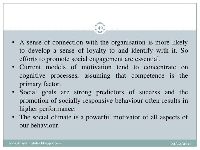 • A sense of connection with the organisation is more likely to develop a sense of loyalty to and identify with it. So eff...