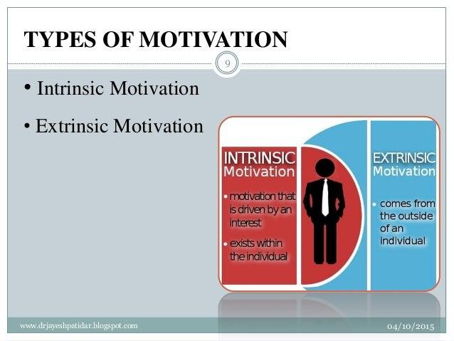 TYPES OF MOTIVATION • Intrinsic Motivation • Extrinsic Motivation 04/10/2015www.drjayeshpatidar.blogspot.com 9