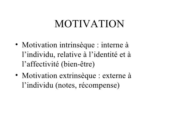 MOTIVATION <ul><li>Motivation intrinsèque : interne à l'individu, relative à l'identité et à l'affectivité (bien-être) </l...