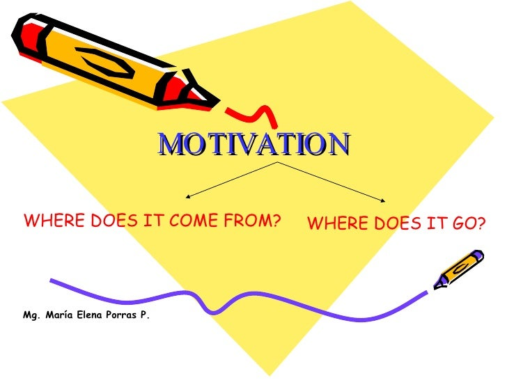 MOTIVATION WHERE DOES IT COME FROM? WHERE DOES IT GO? Mg. María Elena Porras P.