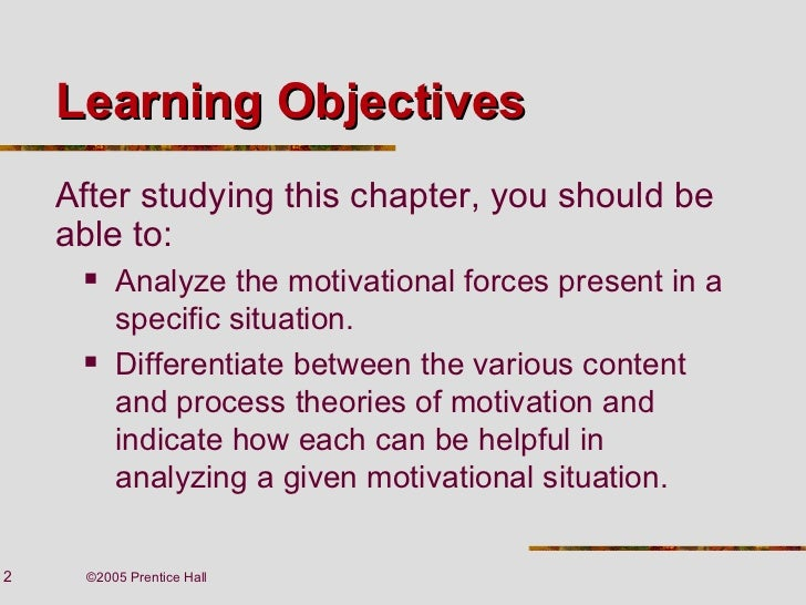 process theories of motivation The main difference between content and process theories is that content theory focuses on individual needs, while process theory focuses on behavior these theories provide insight into what motivates people to act a certain way in a particular setting and are popular in business management .