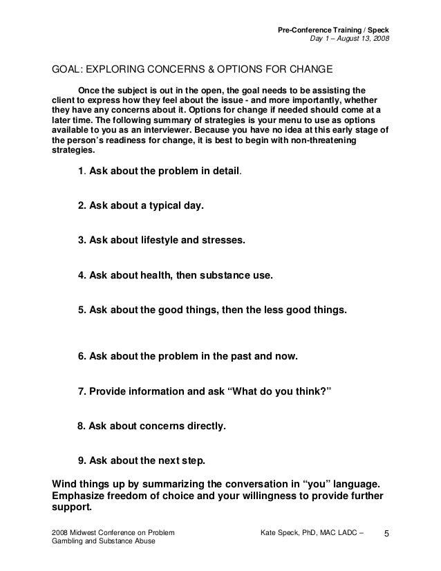 Motivational interviewing handout – Motivational Interviewing Worksheets