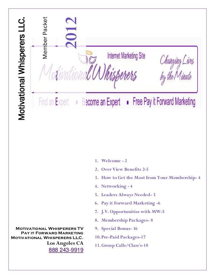 2012                                 Member Packet  Motivational Whisperers LLC.                                          ...