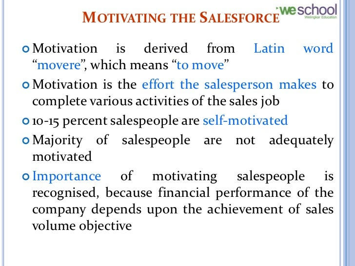 Motivation and Compensation of Sales People