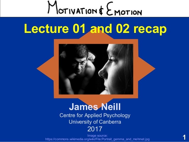 1 Motivation & Emotion James Neill Centre for Applied Psychology University of Canberra 2017 Lecture 01 and 02 recap Image...