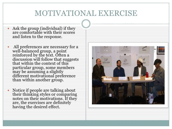 group motivation inventory Motivation within your group by focusing  just like having a match, motivation   consider having your organization members sit down and write an inventory of.