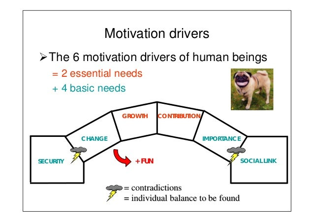 Motivation drivers The 6 motivation drivers of human beings = 2 essential needs + 4 basic needs SOCIAL LINKSECURITY CHANGE...