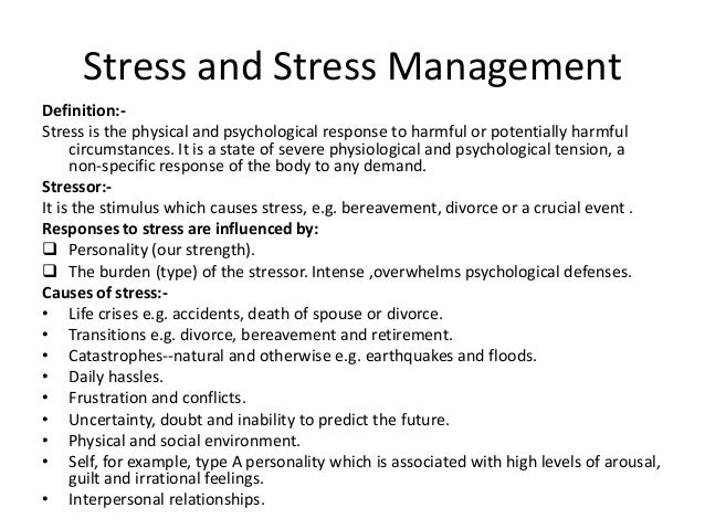 bodily responses to stress psychology