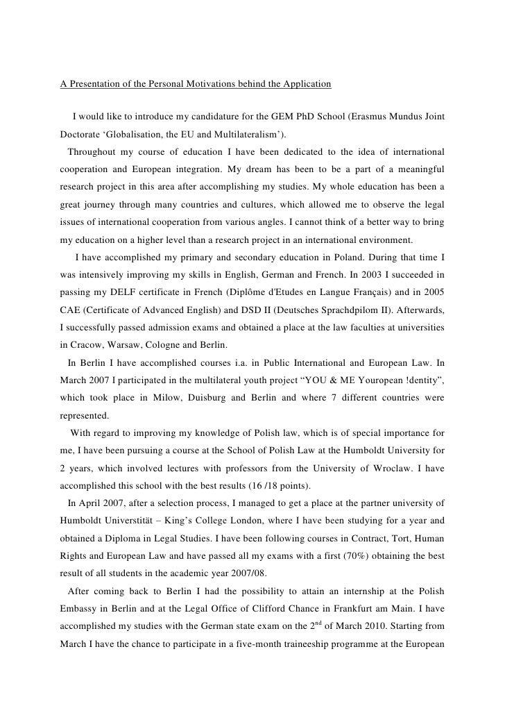 letter of motivation internship