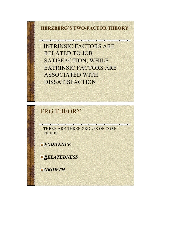 HERZBERG'S TWO-FACTOR THEORY   INTRINSIC FACTORS ARE RELATED TO JOB SATISFACTION, WHILE EXTRINSIC FACTORS ARE ASSOCIATED W...
