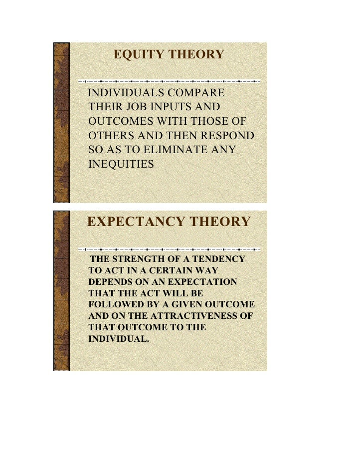 EQUITY THEORY  INDIVIDUALS COMPARE THEIR JOB INPUTS AND OUTCOMES WITH THOSE OF OTHERS AND THEN RESPOND SO AS TO ELIMINATE ...