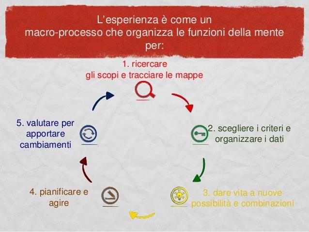 L'esperienza è come un macro-processo che organizza le funzioni della mente per: 1. ricercare gli scopi e tracciare le map...
