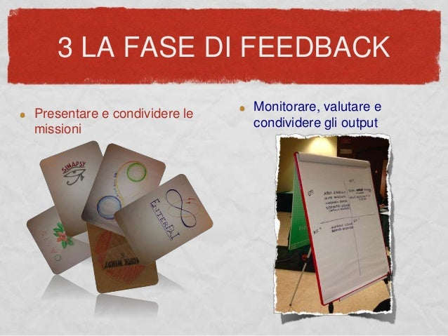 3 LA FASE DI FEEDBACK Presentare e condividere le missioni Monitorare, valutare e condividere gli output