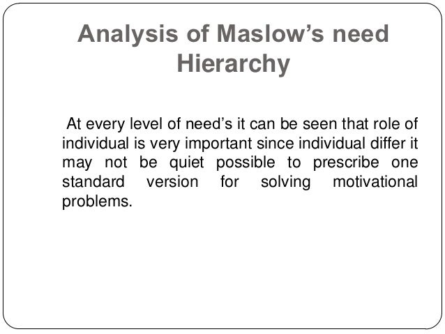 motivational theories and analysis The first three are very well known and they are three of the oldest motivation theories developed some aspects of each theory are represented in today's motivation theories in big organizations basically maslow's hierarchy of needs is a summary of all needs a human being can desire.