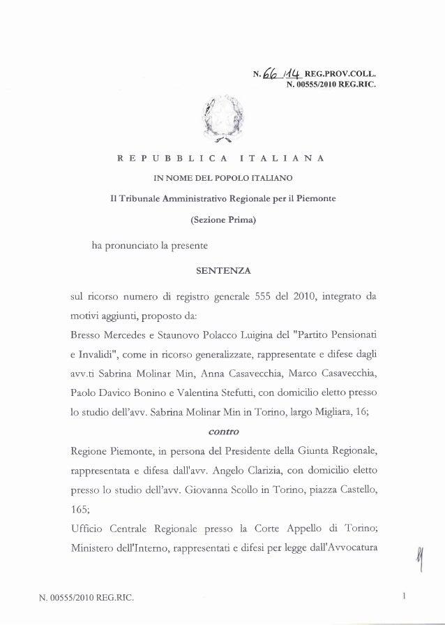 La motivazione della sentenza del Tar che annulla le elezioni 2010 della Regione Piemonte from Quotidiano Piemontese