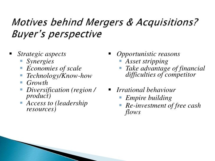 motives for mergers and acquisitions