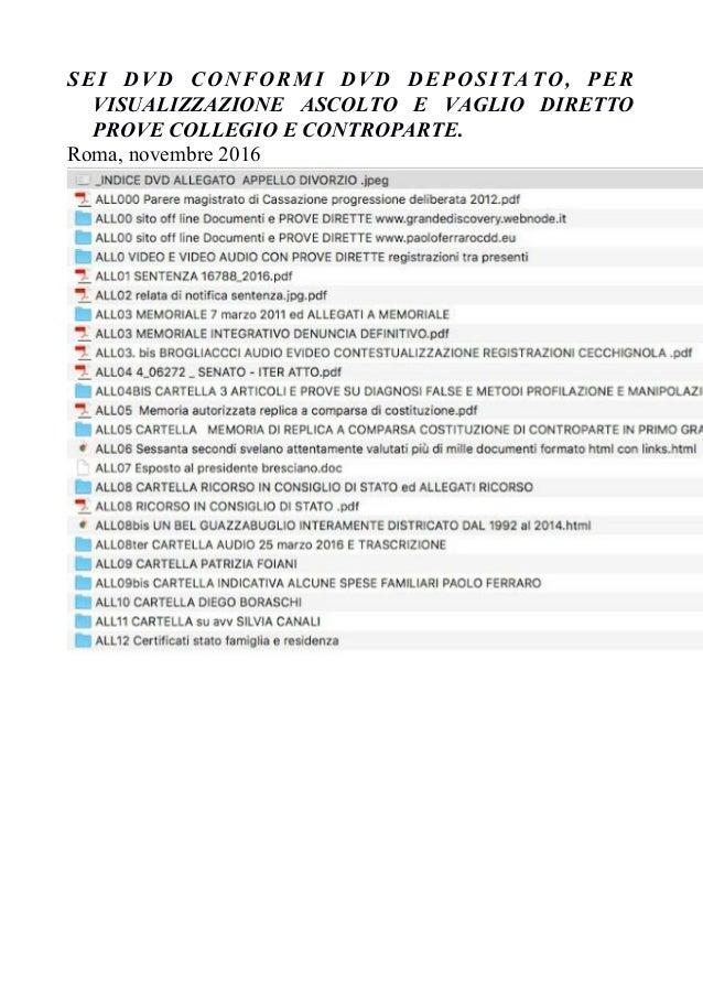 SEI DVD CONFORMI DVD DEPOSITATO, PER VISUALIZZAZIONE ASCOLTO E VAGLIO DIRETTO PROVE COLLEGIO E CONTROPARTE. Roma, novembre...