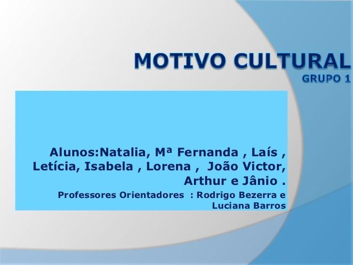 Alunos:Natalia, Mª Fernanda , Laís ,Letícia, Isabela , Lorena , João Victor,                        Arthur e Jânio .   Pro...