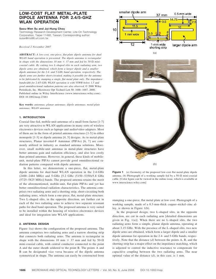LOW-COST FLAT METAL-PLATE DIPOLE ANTENNA FOR 2.4/5-GHZ WLAN OPERATION Saou-Wen Su and Jui-Hung Chou Technology Research De...